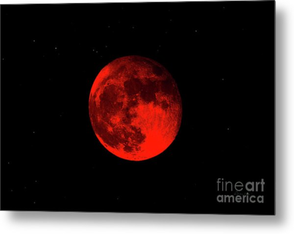 Blood Red Wolf Supermoon Eclipse 873a Metal Print