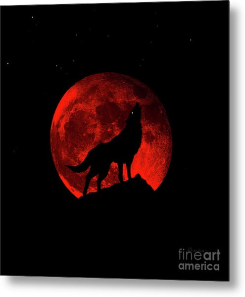 Blood Red Wolf Supermoon Eclipse 873l Metal Print