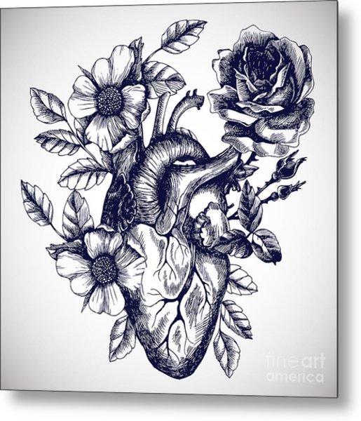 Blooming Anatomical Human Heart. Vector Metal Print