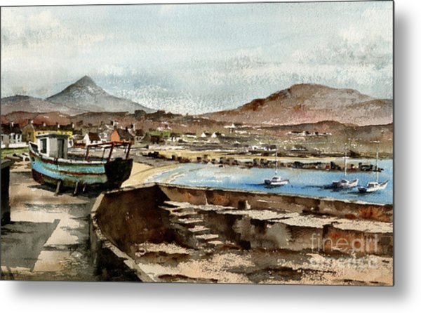 Metal Print featuring the painting Blue Boat At Greystones Harbour by Val Byrne
