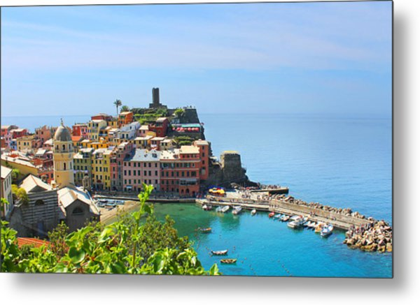 Blue Cinque Terre Metal Print by Christine Buckley
