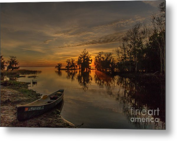 Metal Print featuring the photograph Blue Cypress Canoe by Tom Claud