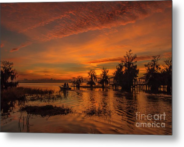 Metal Print featuring the photograph Blue Cypress Sunrise With Boat by Tom Claud