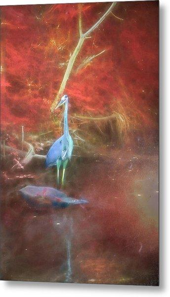 Blue Heron Red Background Metal Print