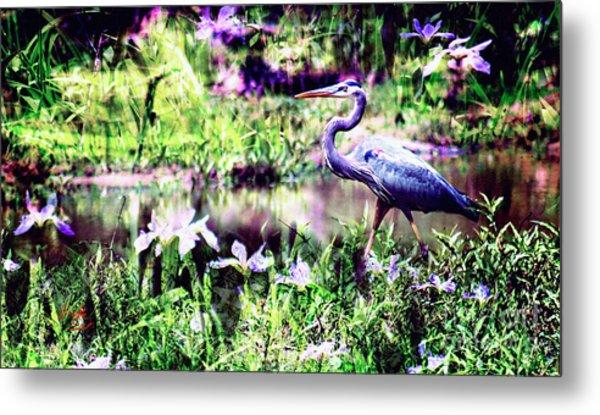 Blue Heron Wetland Magic Landscape Metal Print by Ginette Callaway