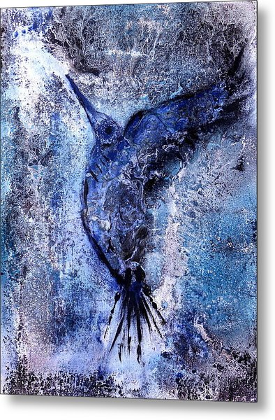 Blue Hummingbird Metal Print