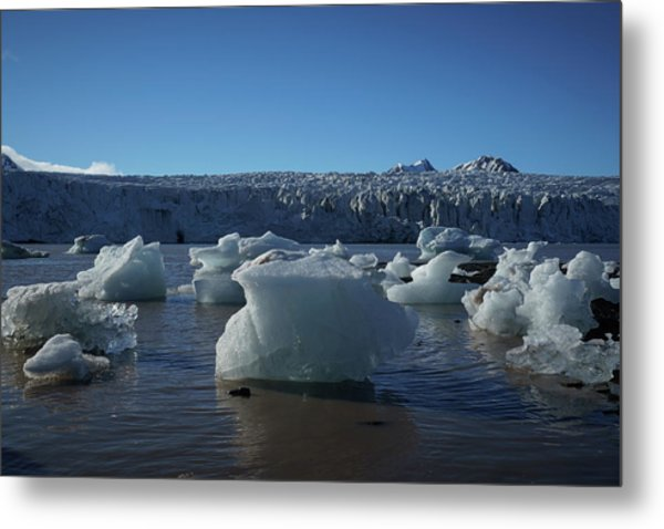 Blue Icebergs Floating Along Storm Arctic Coast Panorama Metal Print