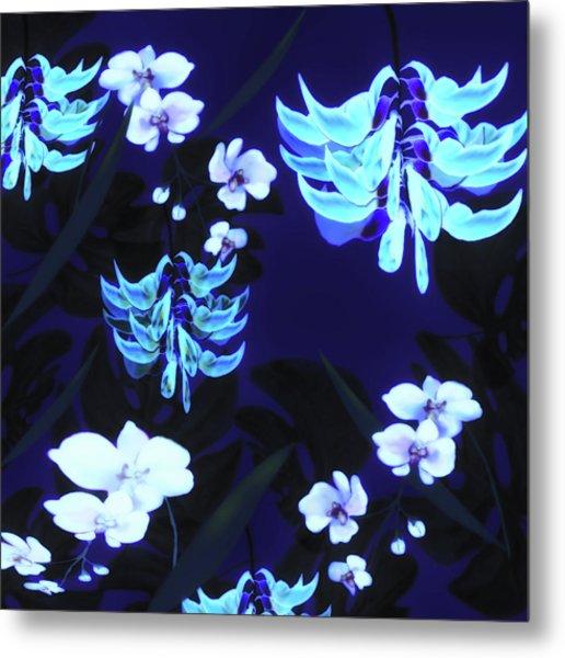 Blue Jungle Floral Metal Print