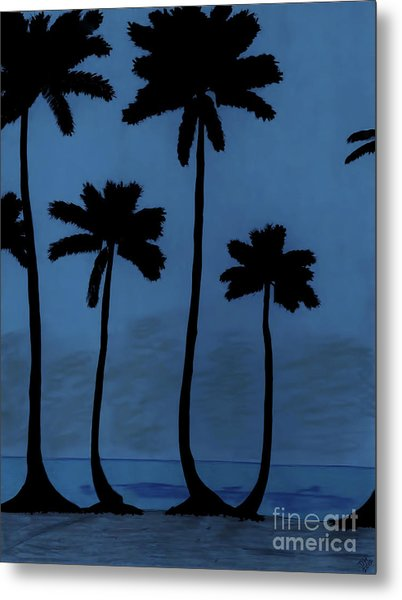 Blue - Night - Beach Metal Print