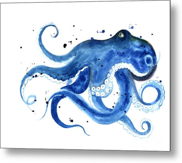 Blue Octopus Silhouette Watercolor Metal Print