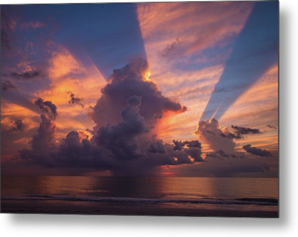 Blue Orange Sunset Metal Print