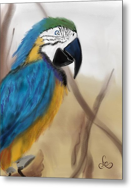 Metal Print featuring the digital art Blue Parrot by Fe Jones
