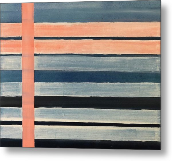 Blue Peachy Stripes Metal Print