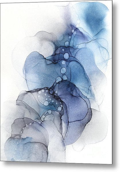 Blue Petal Dots Whispy Abstract Painting Metal Print