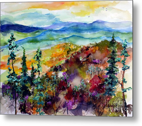 Metal Print featuring the painting Blue Ridge Mountains Autumn Impressions by Ginette Callaway