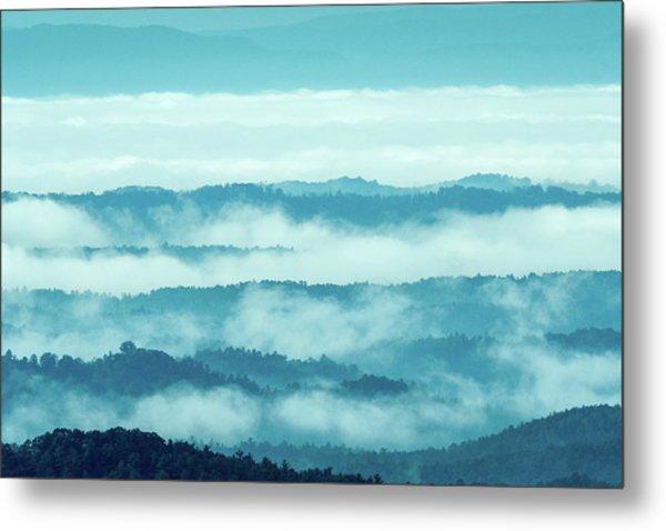 Blue Ridge Mountains Layers Upon Layers In Fog Metal Print
