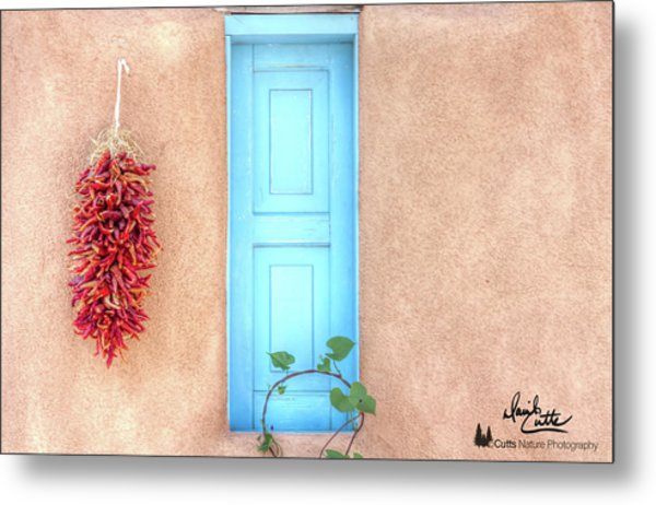 Blue Shutters And Chili Peppers Metal Print