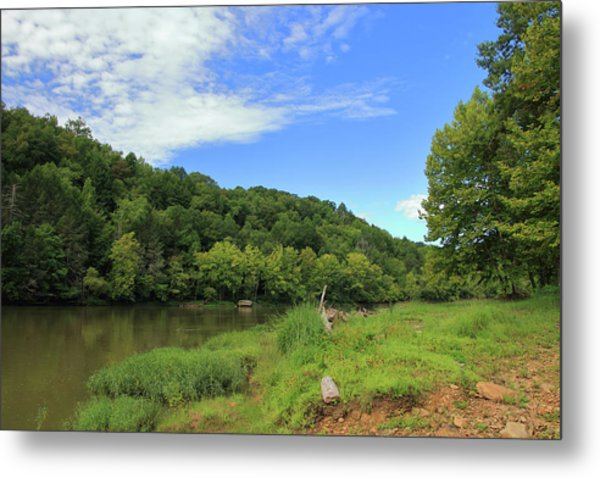 Metal Print featuring the photograph Blue Sky At Cumberland River by Angela Murdock