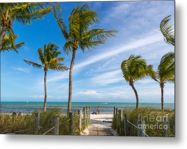 Blue Sky With White Sand And Palm Beach Metal Print