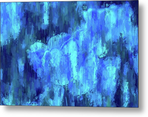 Blue Tulips On A Rainy Day Metal Print