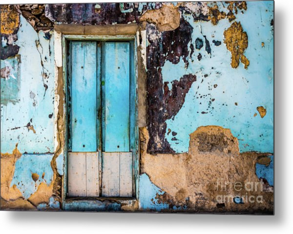 Blue Wall And Door Metal Print