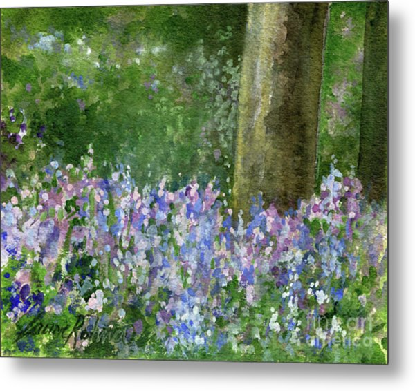 Bluebells Under The Trees Metal Print