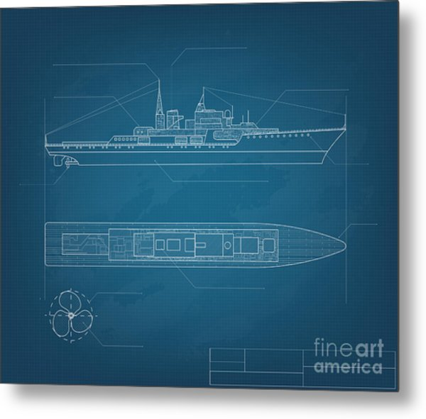 Blueprint Ship Metal Print