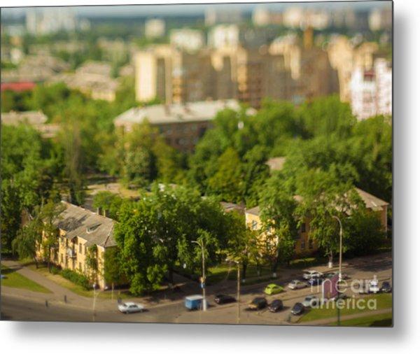 Blurry Tilt-shift Cityscape Background Metal Print