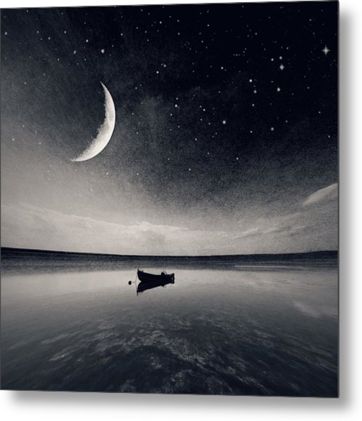 Boat On Lake At Night Metal Print by Mateusz Sawicki / Eyeem