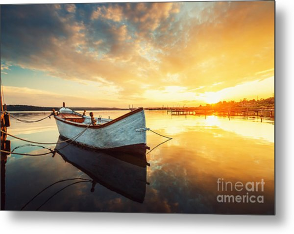 Boat On Lake With A Reflection In The Metal Print