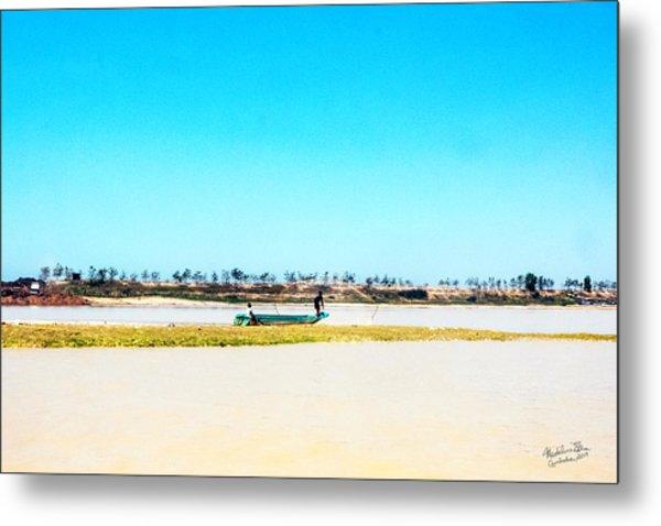 Boat On Tonle Sap Lake - Siem Reap, Cambodia Metal Print