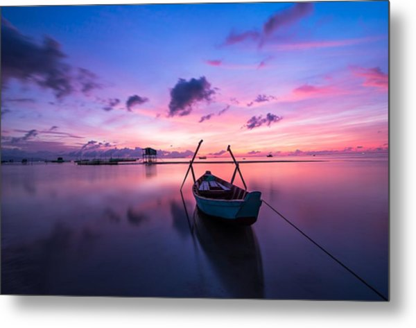 Boat Under The Sunset Metal Print