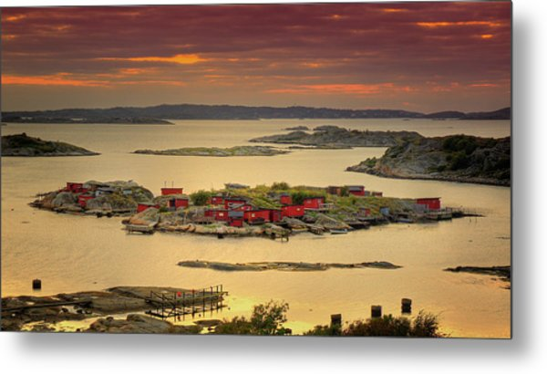 Boathouses In Sweden Metal Print by Mikael Tigerström