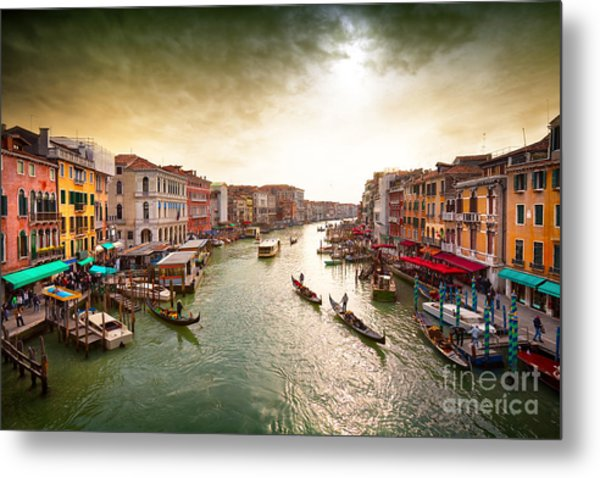 Boats And Gondolas On The Grand Canal Metal Print