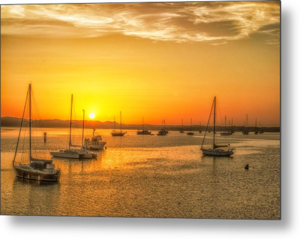 Boats At Sunset Metal Print by Fernando Margolles