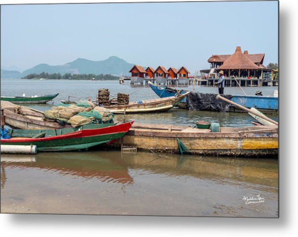 Boats In Lang Co - Hue, Vietnam Metal Print