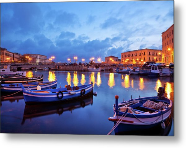 Boats In Sicily, Italy Metal Print by Nikada