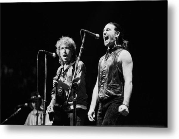 Bob Dylan Performs With U2 In Concert Metal Print by George Rose