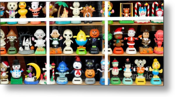Metal Print featuring the photograph Bobbleheads In Store Window In Schroon Lake Ny In Adirondacks by Rose Santuci-Sofranko
