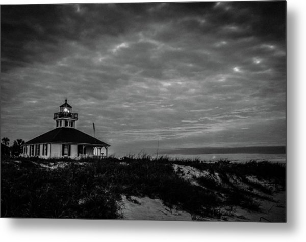 Boca Grande Lighthouse Black And White Metal Print