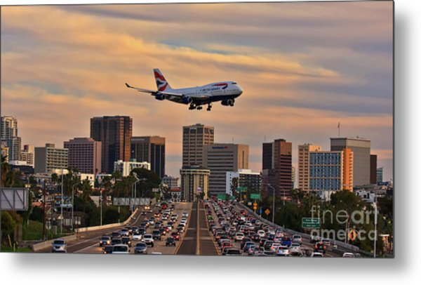 Metal Print featuring the photograph Boeing 747 Landing In San Diego by Sam Antonio Photography