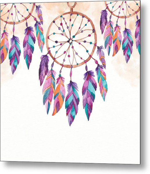 Boho Dreamcatcher - Boho Chic Ethnic Nursery Art Poster Print Metal Print