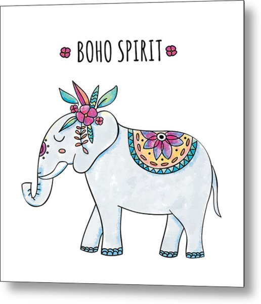 Boho Spirit Elephant - Boho Chic Ethnic Nursery Art Poster Print Metal Print