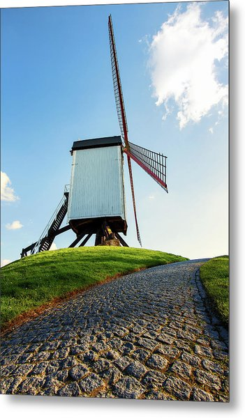 Bonne Chiere Windmill Bruges Belgium Metal Print