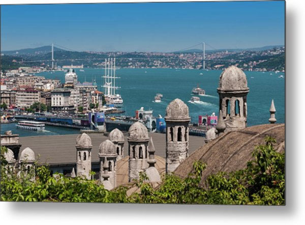 Bosphorus From The Suleymaniye Mosque Metal Print