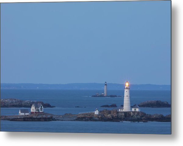 Metal Print featuring the photograph Boston Light And Graves Light by Juergen Roth