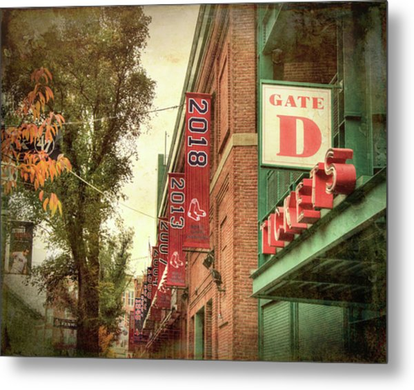 Metal Print featuring the photograph Boston Red Sox Fenway Park 2018 World Series Champion Banner by Joann Vitali