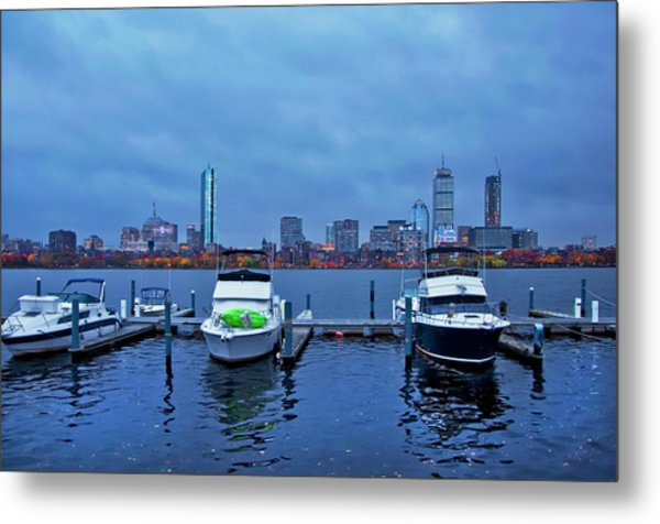 Metal Print featuring the photograph Boston Skyline At Night In Autumn by Joann Vitali