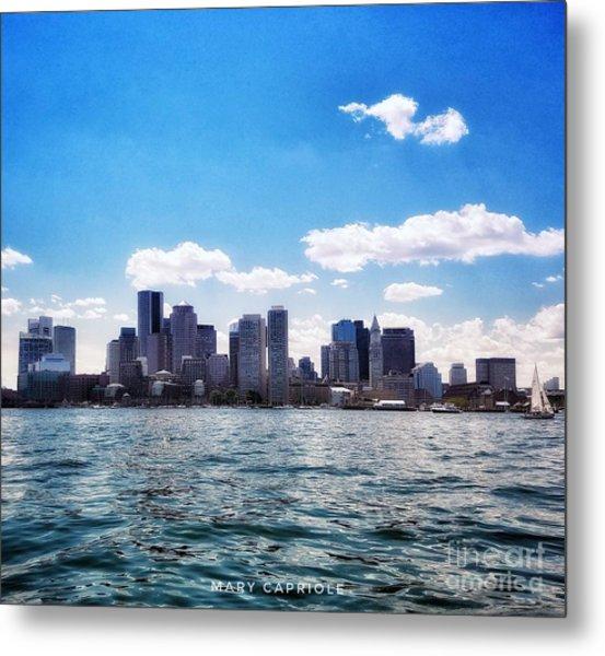 Boston Skyline From Boston Harbor  Metal Print
