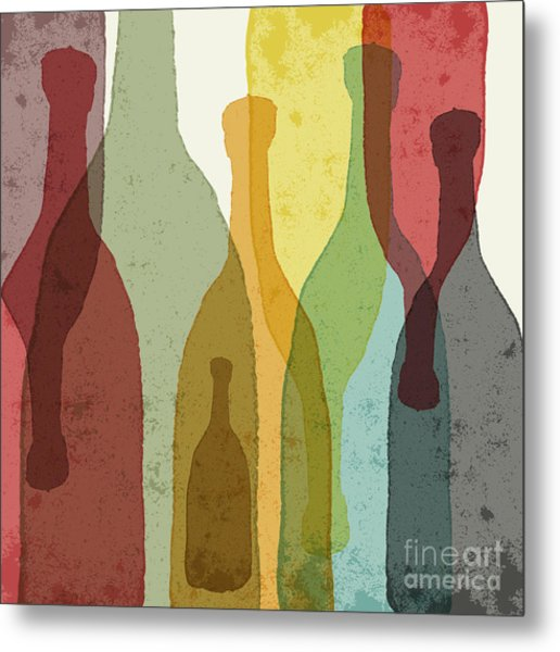Bottles Of Wine, Whiskey, Tequila Metal Print